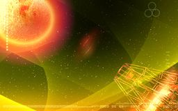 Antenna sending signals to a planet Stock Photos