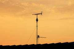 Antenna silhouette sunrise Royalty Free Stock Photography