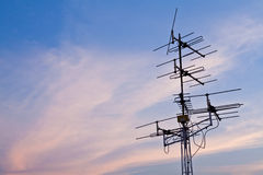 Multi-antenna in sky with cloud Royalty Free Stock Images