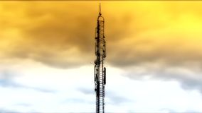 Antenna in the sky clouds. Cloudscape moving  media antenna timelapse stock video footage