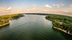 Antenna sopra il wylie Carolina del Sud del lago Fotografie Stock