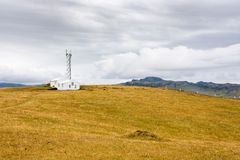 Antenna station on Dyrholaey peninsula in Iceland. Travel to Iceland - antenna station on Dyrholaey peninsula near Vik I Myrdal village on Atlantic South Coast royalty free stock images