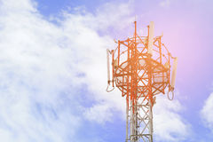 Antenna telecommunication tower against the blue sky Stock Photography