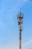 Antenna and telecommunication tower in blue sky Royalty Free Stock Photography