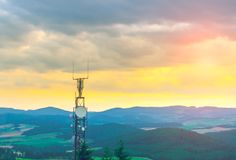 Antenna at the top. Of the mountain Stock Photo