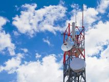 Antenna on blue sky. Antenna tower on blue sky stock photography