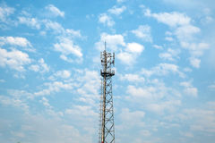 Antenna tower and cloudy sky Royalty Free Stock Photos