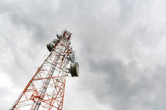 Antenna Tower of Communication with sky Stock Photos