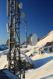 Antenna Tower Dolomite. Antenna tower at the Giau Pass at the Dolomite Alps (Italy Royalty Free Stock Photo