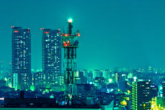 Antenna tower at night Stock Images