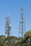 Antenna tower on top of a hill Royalty Free Stock Images