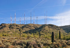 Antenna towers in desert Royalty Free Stock Photo