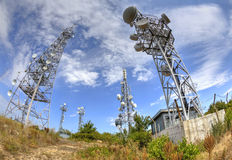 Antenna towers in fish-eye perspective Stock Photo