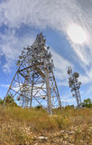Antenna towers in fish-eye perspective Stock Photography