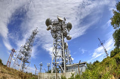 Antenna towers in fish-eye perspective Stock Images