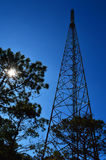 Antenna Towers. Telecommunications towers at the sunset Stock Image
