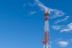 Antenna transmission tower in a day of clear blue sky with copy space. Antenna transmission tower in a day of clear blue sky and copy space for text stock photo