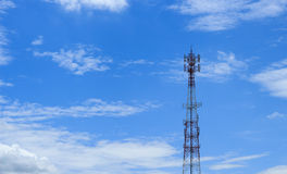 Antenna transmission tower. Painted white and red in a day of clear blue sky royalty free stock image
