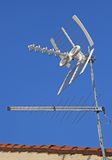 Antenna TV  for reception of TV channels and the blue sky Stock Photography