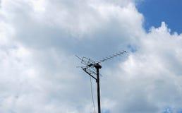 Antenna of TV. Set against the sky stock photos