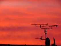 Antenna view sunset Royalty Free Stock Photos