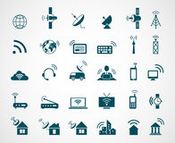 Antenna and wireless technology icons. Antenna wireless, technology connection wireless,  icon set wireless communication, satellite internet, vector Royalty Free Stock Photo