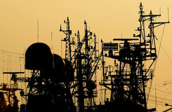 Antennas - 1. Antennas on a deck of a ships Stock Photo