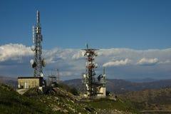 Antennas. On hills near Genoa stock photos