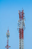 Antennas with a blue sky. Royalty Free Stock Photo