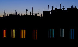 Antennas on a building Royalty Free Stock Photo