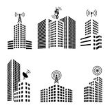 Antennas on buildings in the city icon set Stock Photos