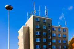 Antennas for cellphone service on building Royalty Free Stock Image