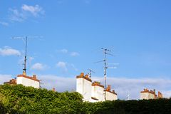 Antennas and chimneys (France Europe). Royalty Free Stock Images