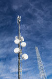 Antennas on mobile network tower on a blue sky . Global system for mobile communications. Royalty Free Stock Image