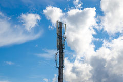 Antennas on mobile network tower. Global system for mobile communications. Stock Photos