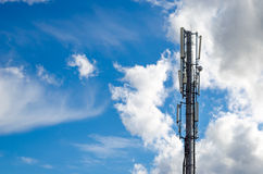 Antennas on mobile network tower. Global system for mobile communications. Stock Images