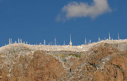 Antennas on a mountain Stock Images