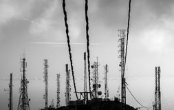 Antennas on a mountain top Royalty Free Stock Images