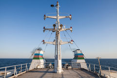Antennas on passenger ship. Color image of some antennas on the deck of a passenger ship Stock Photo