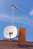 Antennas on roof Royalty Free Stock Photos