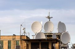 Antennas on a roof Stock Photography
