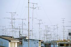 Antennas on the roof Royalty Free Stock Image