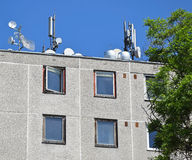 Antennas on the roof Royalty Free Stock Images