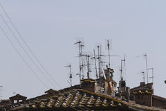 Antennas on the roof Royalty Free Stock Photo