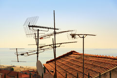 Antennas on the roof Stock Photos