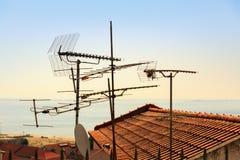 Antennas on the roof Stock Photos