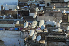 Antennas on the roofs of fez Royalty Free Stock Image