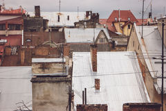 Antennas on rooftops. Royalty Free Stock Photos