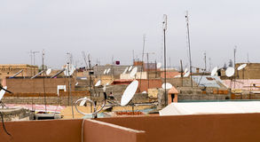 Antennas and satelite recievers, marrakesh morroco Royalty Free Stock Photography