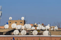 Antennas and satellite recievers Stock Photo